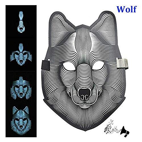 XoYo Sound Reactive LED Mask, Halloween Mask LED, Luminous Voice Control Mask Party,Halloween,Carnivals,Christmas,Dance Ball,Masquerades,Dancing,Riding,Skating at Night, Cosplay DJ Mask (Wolf)