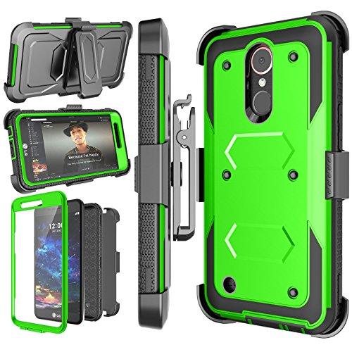 Njjex LG K30 Case, LG Premier Pro LTE/Xpression Plus/K30 Plus/K10 2018/Harmony 2/LG Phoenix Plus Holster, [Nbeck] Heavy Duty Built-in Screen Protector Locking Swivel Belt Clip Kickstand Cover [Green]