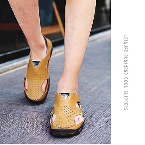 para al para Interior Cerrados Libre Verano Sandalias de Zapatos Sandalias Ocio Agua de Deportes para de Zapatillas de Playa Cuero Hombre Pescador Playa Deportivas y Zapatos Aire Exterior de Aptas Yellow de f75qwT5