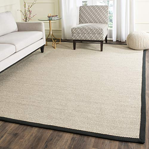 Rug Jute Border (Safavieh Natural Fiber Collection NF143A Marble and Black Sisal Area Rug (8' x 10'))