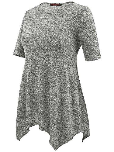 Femme Courtes S Casual VESSOS Manches Blouse 2XL Shirt Gris T PqWdvwT