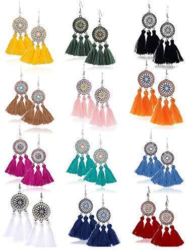 Trounistro 12 Pairs Tassel Hoop Earrings Fan Shape Drop Fish Hook Earring Dangle Ear Set for Women Girls Daily Wear Party Bohemia Dress Accessory (Color Style 2)