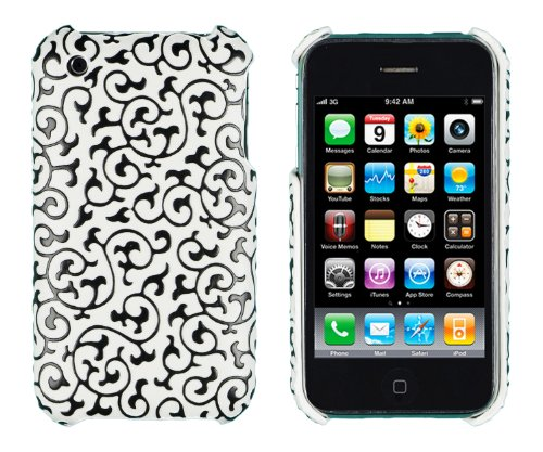 Iphone 3g 3 Gs Flower (Black Embossed Vines Case for Apple iPhone 3G, 3GS - Includes 24/7 Cases Microfiber Cleaning Cloth [Retail Packaging by DandyCase])