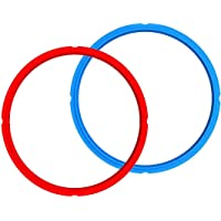 2 Pack Silicone Ring and Silicone Lid for Instant Pot, Lid Cover Fit Snugly for 5/6 Quart Instanpot Accessories, Easy Clean Perfect Accessory (Red/Blue)
