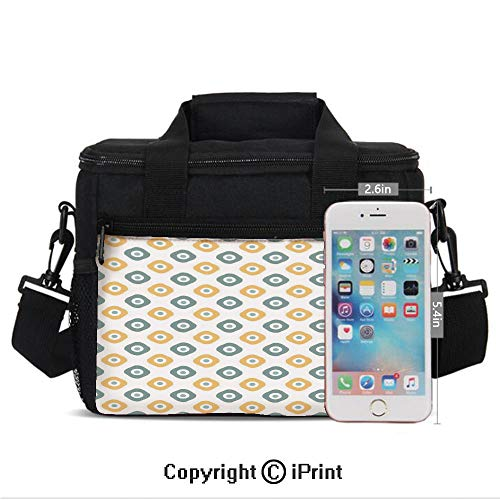 Stylish Evil Eye Bead Amulet Like Figures Cubical Rounded Dotted Print Lunch Bag Portable Insulated Lunch Boxes with Zipper and Pocket,Almond Green Apricot Mustard ()