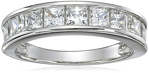 Sterling Silver Platinum-Plated Swarovski Zirconia Princess Channel Band Ring, Size 8 ()