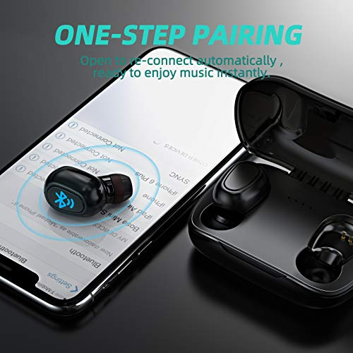 Wireless Earbuds   LESHP Bluetooth Earbuds with Intense bass, 2021 Wireless Headphones with Integrated Microphone, Noise-canceling in Black