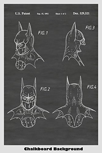 (Batman Face Mask Patent Print Art Poster: Choose From Multiple Size and Background Color)