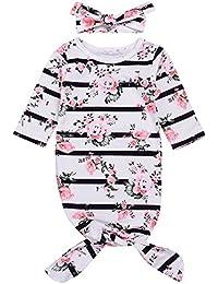 Newborn Baby Sleepy Floral Striped Gown Headband Sleepwear Romper Sleeping Bags