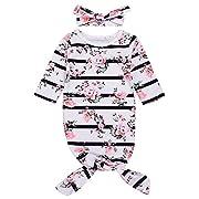 Mini honey Newborn Baby Girls Long Sleeve Sleepy Floral Striped Gown Headband Sleepwear Romper Sleeping Bags (White, 3-6 Months)