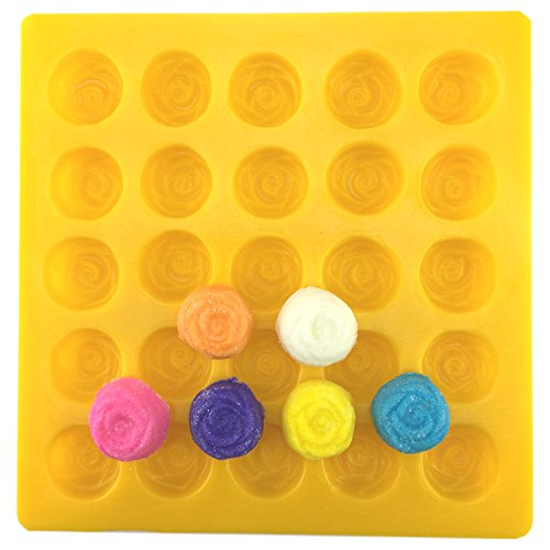 Guttman Rose, Yellow, Flexible, Soft Candy Mold used as Cream Cheese Mint Mold, Buttercream Mold, Fondant Mold, Marzipan Mold, Chocolate Mold, Fudge Mold, Caramel Mold and Butter Mold