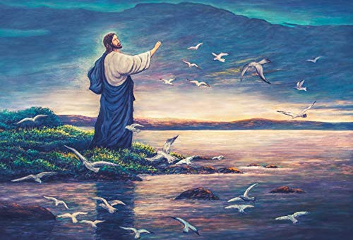 Yeele Backdrops 5x3ft Jesus Feeds Birds Oil Painting On Canvas Christ Resurrection Easter Christian Religious Pictures Adult Artistic Portrait Photoshoot Props Photography Background -