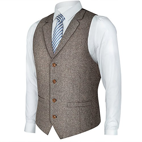 Zicac Men's Notch Lapel Casual Vest Modern Fit Dress Suit Waistcoat (M, ()