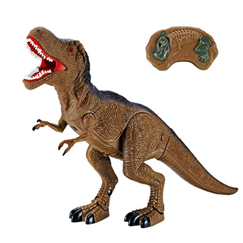 Inverlee High Simulation Dinosaur Toy RC Walking Dinosaur Roars Lights Sounds Fast Forward Function, Xmas Gift for Children (B)