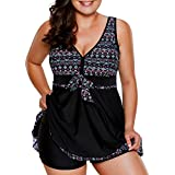 CICIDES Womens Tribal Printed Tankini Swimdress with Boyshort Swimsuits(M-XXXL)