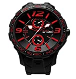NOA Unisex Swiss Quartz Watch - Premium Analog Display With Black Dial and Watch Band - White and Red Accents - Water Resistant Stainless Steel Fashion - G EVO-006
