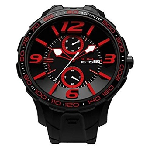 NOA Unisex Swiss Quartz Watch - Premium Analog Display With Black Dial and Watch Band - White and Red Accents - Water Resistant Stainless Steel Fashion - G EVO-006 by Noa Watch