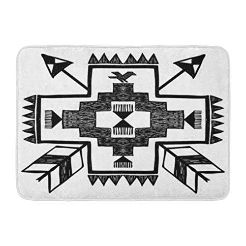 Emvency Doormats Bath Rugs Outdoor/Indoor Door Mat Pattern Native American Tribal in Black and White Navajo Aztec Arrow Bathroom Decor Rug Bath Mat 16