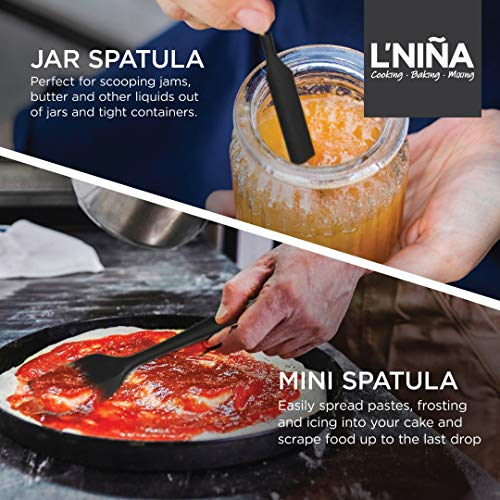Silicone Spatula by L'Niña – Dishwasher Safe Spatulas For Non Stick Cookware – Spatula Set For Mixing, Cooking, and Baking – Silicone Heat Resistant Rubber Spatula – Silicone Spatula Set