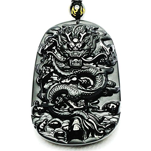 Natural Tai Chi Black Obsidian Pendant Necklace Caved Chinese Characters Pattern with Extend Bead Chain for Men or Women (Dragon)