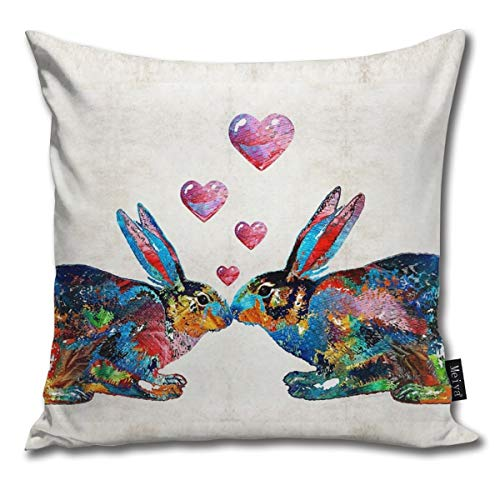 Togift Throw Pillow Cover 18 x 18 Inch 45 x 45 cm Square Bunny Rabbit Art - Hopped Up On Love - by Sharon Cummings Pillow Cover for Sofa Bedroom Car Decor (Pillow Cumming On)
