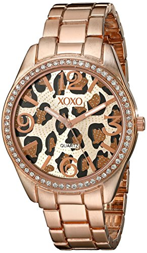 - XOXO Women's XO5638 Rose Gold-Tone Leopard Dial Dress Watch