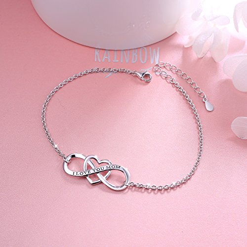 """SILVER MOUNTAIN S925 Sterling Silver """"I Love You Mom """" Heart Infinity Bracelet for Mother by SILVER MOUNTAIN (Image #1)"""