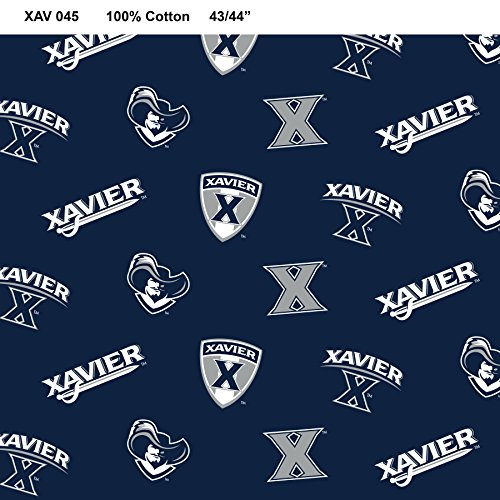 Xavier University Cotton Fabric-Xavier University Quilting Fabric-Sold by The - Fabric Xavier Fleece University
