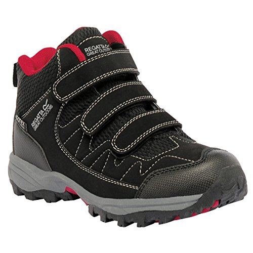 Regatta Boys Helmshore Mid Waterproof Breathable Walking Boots Black Seal Grey/Extreme Green
