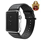 Apple Watch Band, GCASE 38mm Vintage Genuine Leather Watch Band Strap With Classic Metal Adapter Clasp Replacement Wrist Band for Apple Watch Series 1 Series 2 Sport Edition - Black