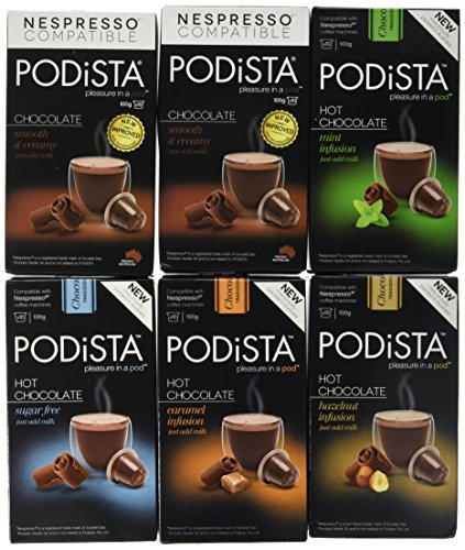 Nespresso Compatible Hot Chocolate Pods Mixed Flavour Variety Pack 6 Pack (60...