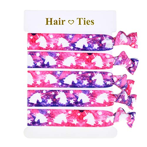 Love Sweety Rainbow Hair Ties Girls Unicorn Party Birthday Favors Baby Shower Personalized Elastic Ponytail Holder (Pink Purple) -