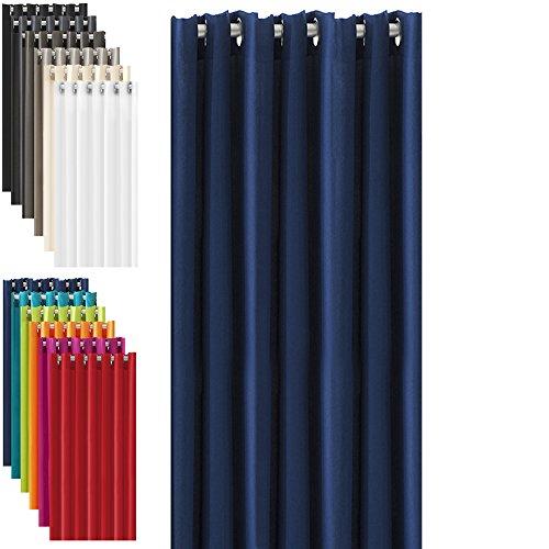 Thermo Ösenschal Thermovorhang mit Ösen - fertig konfektioniert - für Sommer&Winter - 140 x 240 cm (BxL) - dunkelblau