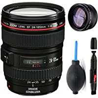 Canon 24-105mm L Lens (WHITE BOX) + High Definition Telephoto Auxiliary Lens + Deluxe Lens Cleaning Pen + Deluxe Lens Blower Brush