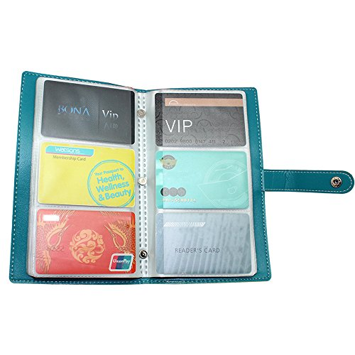 Boshiho Leather Credit Card Holder Business ID Name Cards Case Book Style 120 Counts (Blue)