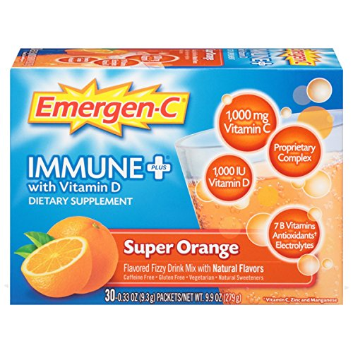 Emergen-C Immune+ (30 Count, Super Orange Flavor) System Support Dietary Supplement Fizzy Drink Mix With Vitamin D, 1000mg Vitamin C plus Antioxidants & Electrolytes, 0.33 Ounce Packets (Vitamin C Emergen C)