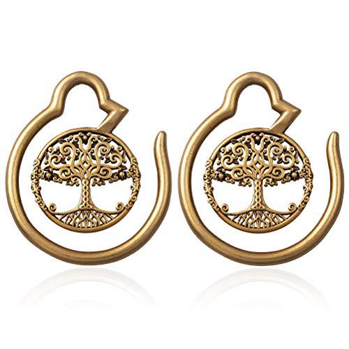 - HONGTU Tree of Life Ear Weights Hoop Ear Gauge Expander Plugs Body Piercing Tribal New Jewelry 6g(4mm) (Anti Gold)