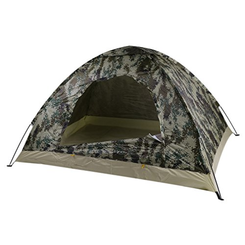 Coldcedar 2 Person Camouflage Camping Tent with Carry Bag | Single Layer Waterproof Portable Dome Camping Backpacking Tent