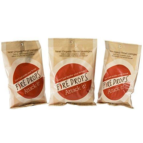 Fire Drops - Organic Throat Lozenges, Cough Drops - Three Pack (FireDrops)