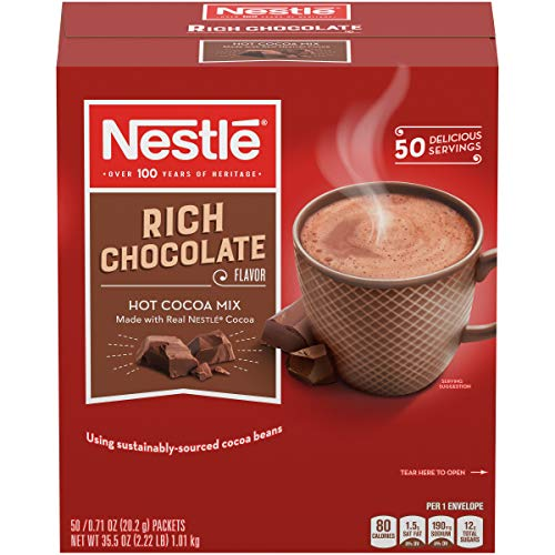 Nestle Hot Chocolate Mix, Hot Cocoa, Rich Chocolate Flavor, Made with Real Cocoa, 0.71 oz Packets (Pack of 50) ()