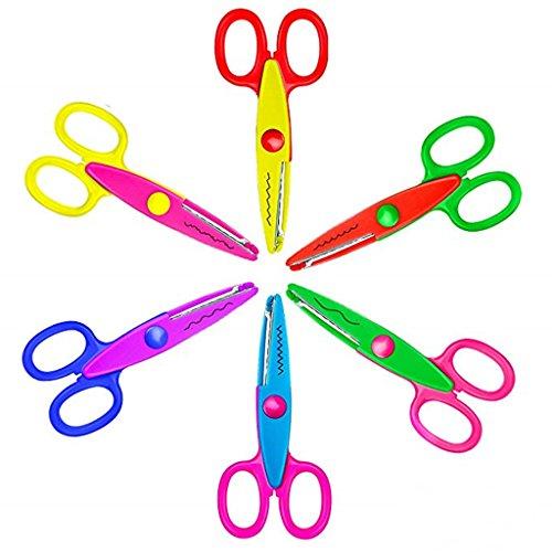 (Children Scissors,6 Pcs Kids Safety Paper Craft Edger Scissors for Kids Students Pattern Scissor Kits)