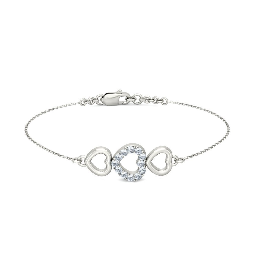 18K White Gold IJ| SI identification-bracelets Size 0.216 cttw Round-Cut-Diamond 7.25 inches