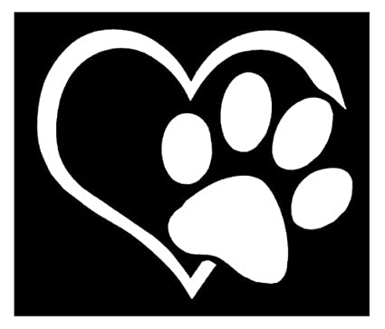 Amazon Com Hestio Pet Paw Print With Heart Dog Cat Vinyl Decal Car