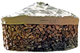 Firewood Cover and Base - Store wood logs without a rack. Includes base template and cover with integrated hold down straps