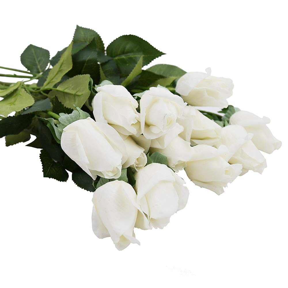 IPOPU Real Like Artificial Roses Flowers,Latex Real Touch Fake Flowers Wedding Bouquet House Garden Decoration 10Pcs in One Bunch(White)