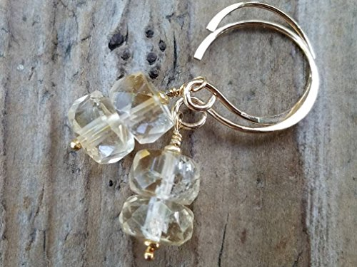 (Citrine and 24k Gold Vermeil Earrings)