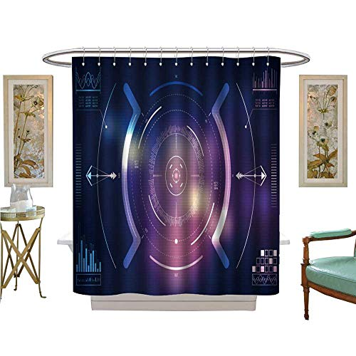 luvoluxhome Shower Curtains Waterproof hud ui and Infographic Elements sci fi User Interface Technology Custom Made Shower Curtain W48 x L72
