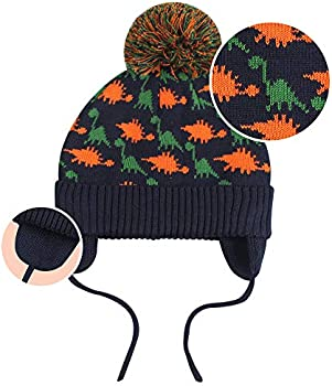 Baby Winter Hat Toddler Girls Knitted Beanie Boys Pom Pom Hats with Ear Flaps Cable-Knit String for 2M-7T