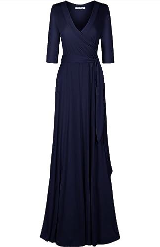 Bon Rosy Women's 3/4 Sleeve V-Neck Solid Maxi Wrap Dress