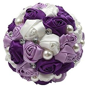 Abbie Home Bride Bouquets - Wedding Bouquet for Bride Rose Diamond Artificial Flowers 60